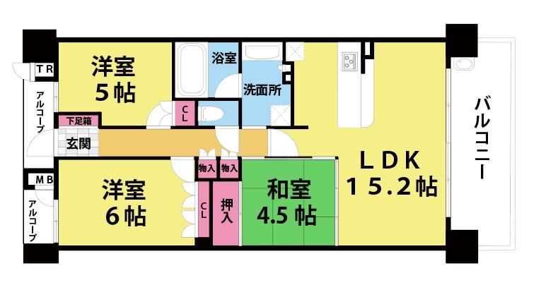 【中古マンション】BELISTA東淀川大桐B棟の間取り