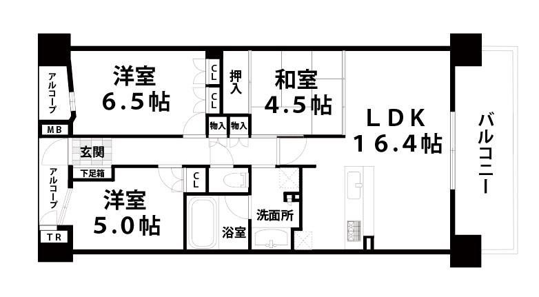 【中古マンション】BELISTA東淀川大桐A棟 7階 3LDKペット可物件間取り