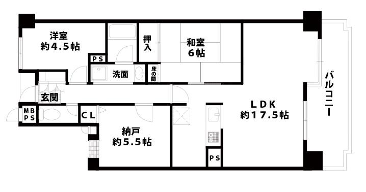 朝日プラザ千船107号室図面