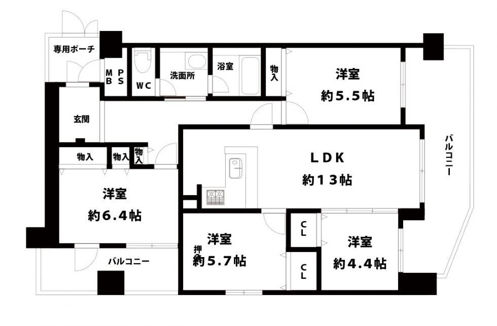 【中古マンション】コスモ・ザ・パークスイースト1 4LDK