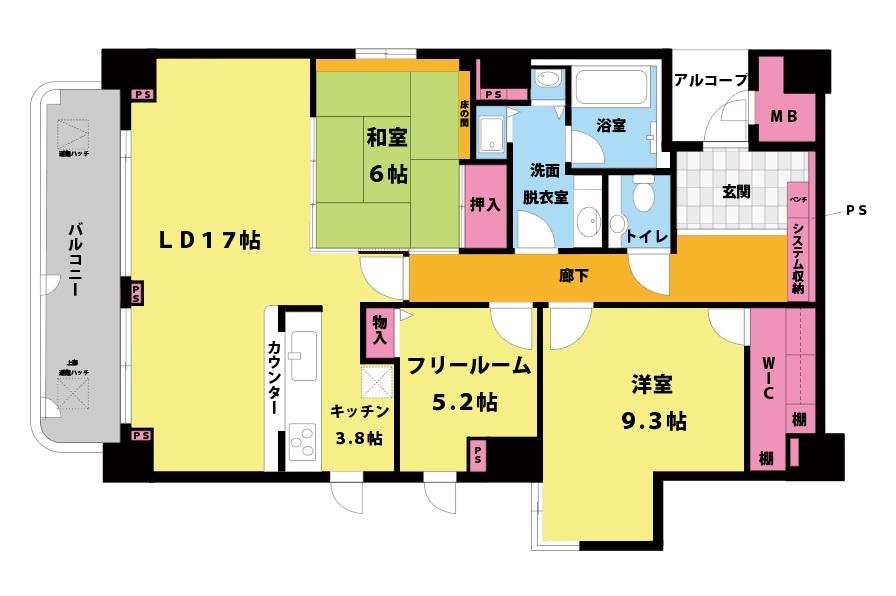 メロディーハイム池田五月山ヒルズヴュー202号室2LDK+Fの間取り