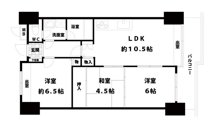【中古マンション】リバーサイドヴィラ姫島2 3LDK