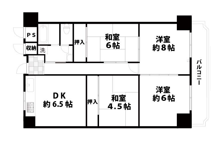 【中古マンション】オリーブハイツ相川2号棟 間取り・物件情報/東淀川区相川