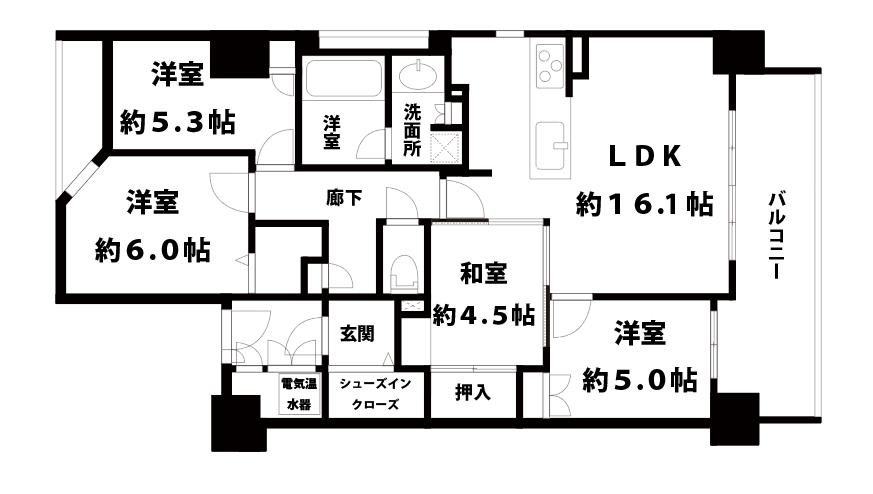 【中古マンション】フィオレ菅原公園4LDKの間取り