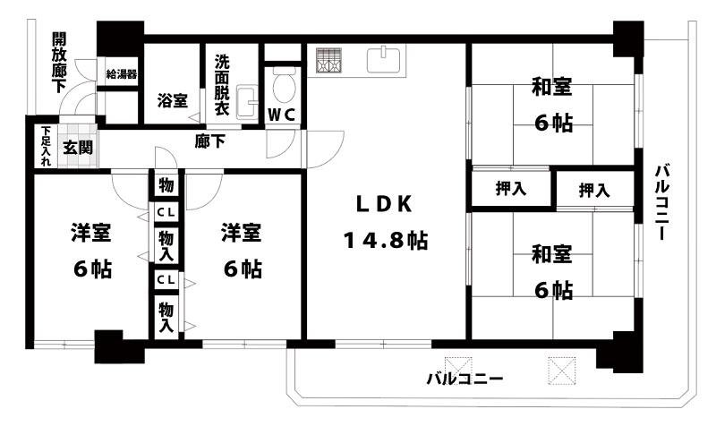 【中古マンション】ファミール東淀川3階 4LDK