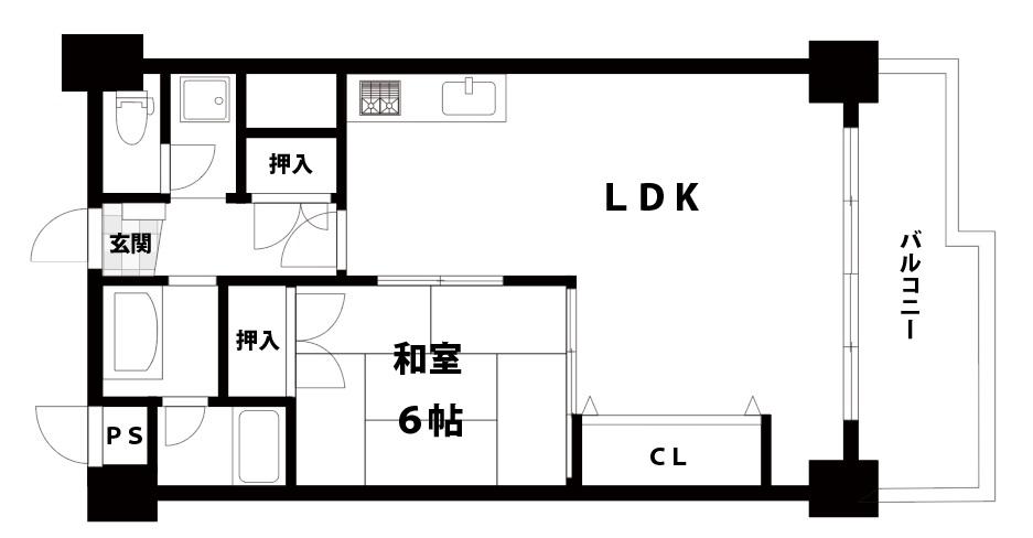 【中古マンション】新大阪ハイツ 1LDK 大阪市東淀川区東中島