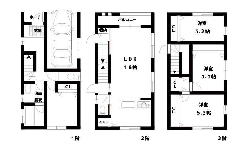 新築戸建て】東淀川区豊里5丁目 4LDKの図面