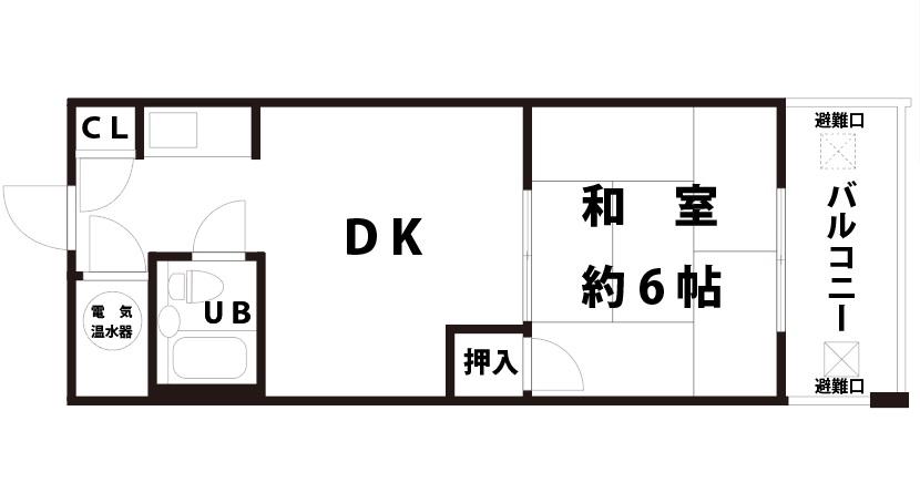 【賃貸物件】ライオンズマンション新大阪1DKの間取り