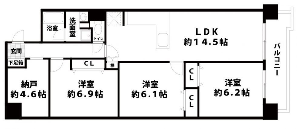 【中古マンション】シャンボール第3新大阪3SLDKの間取り
